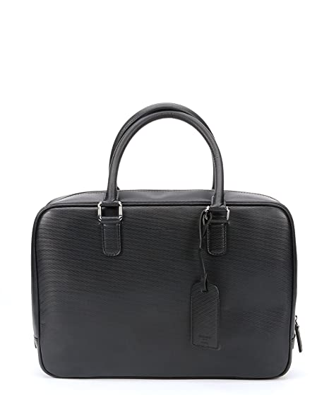 Image Unavailable. Image not available for. Color  Giorgio Armani Men s  Black Embossed Leather Top Handle Briefcase 0992318d786b8