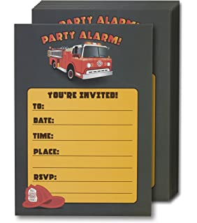 Amazon Com Fire Truck Kids Birthday Party Invitations For Boys 20