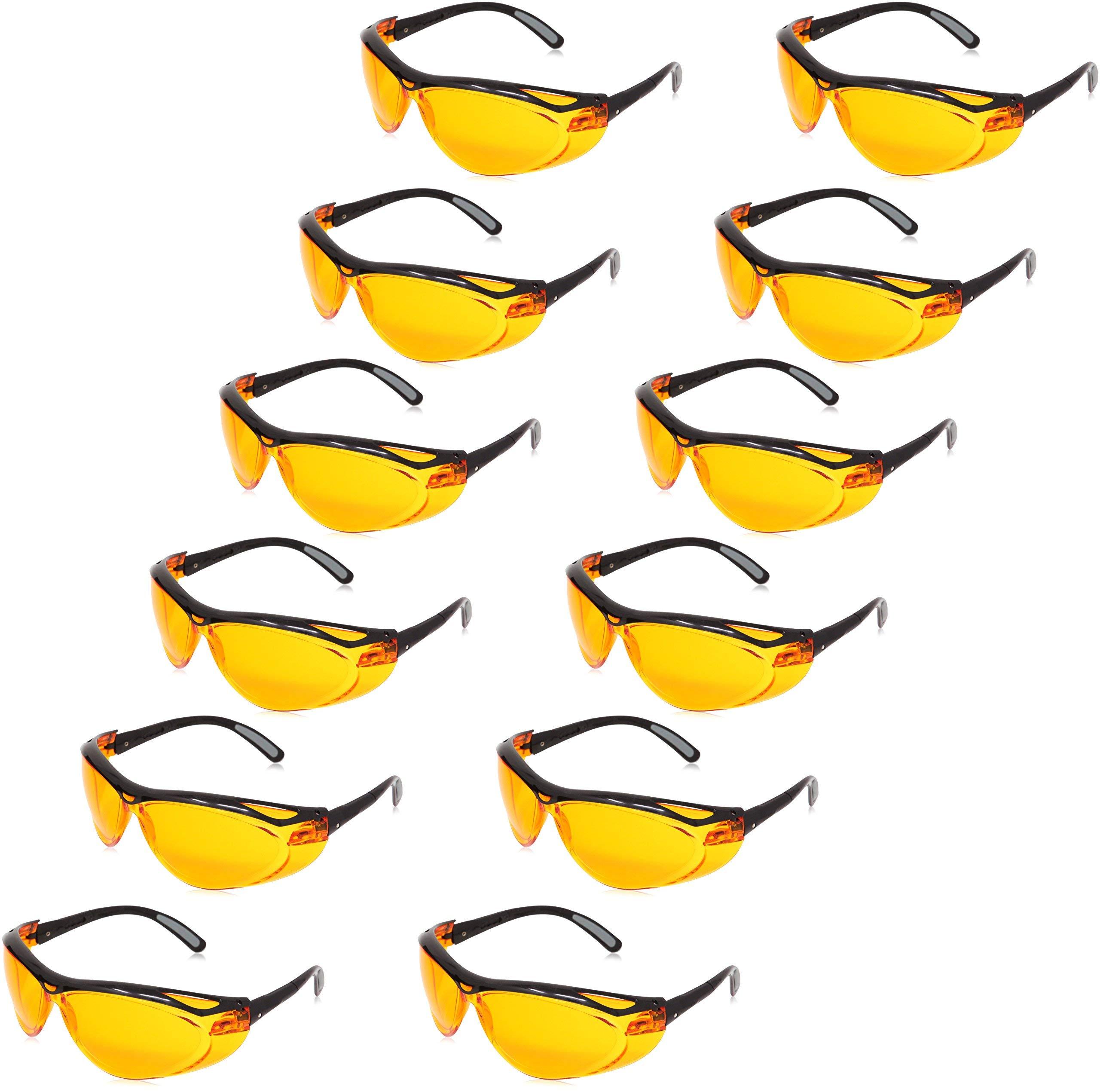 AmazonBasics Blue Light Blocking Safety Glasses Eye Protection, Anti-Fog, Orange Lens, 12-Count by AmazonBasics