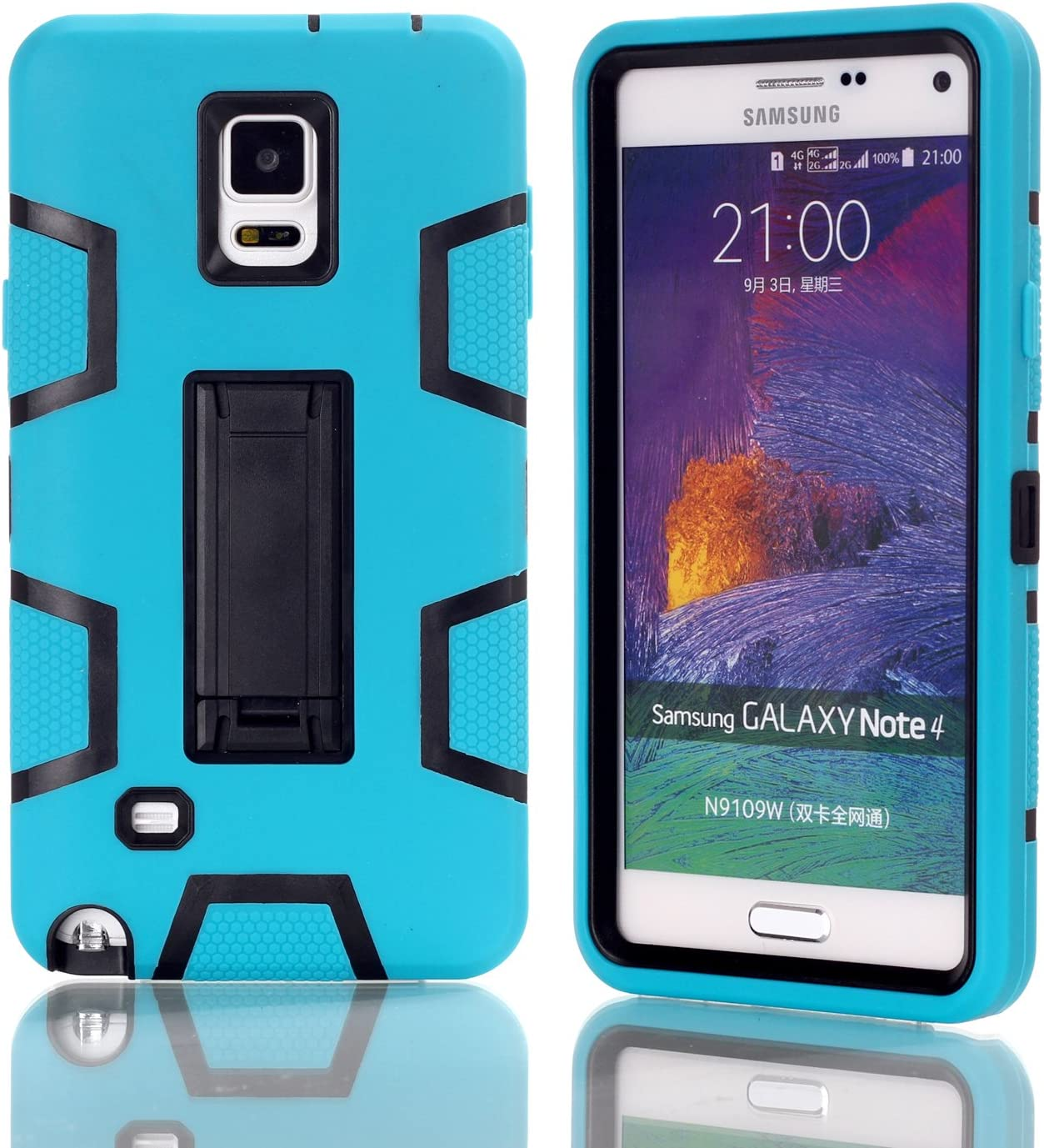 Slim Thin Hybrid Shock Absorption Scratch Resistant TPU Grip Skin Silicone Full-body Protective for Samsung Galaxy Note 3 Galaxy Note 3 Kickstand Case,Heavy Duty Armor black1