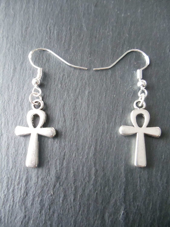 Ankh Earrings 925 Sterling Silver Hooks Egyptian Key of Life Cross Luck Charm