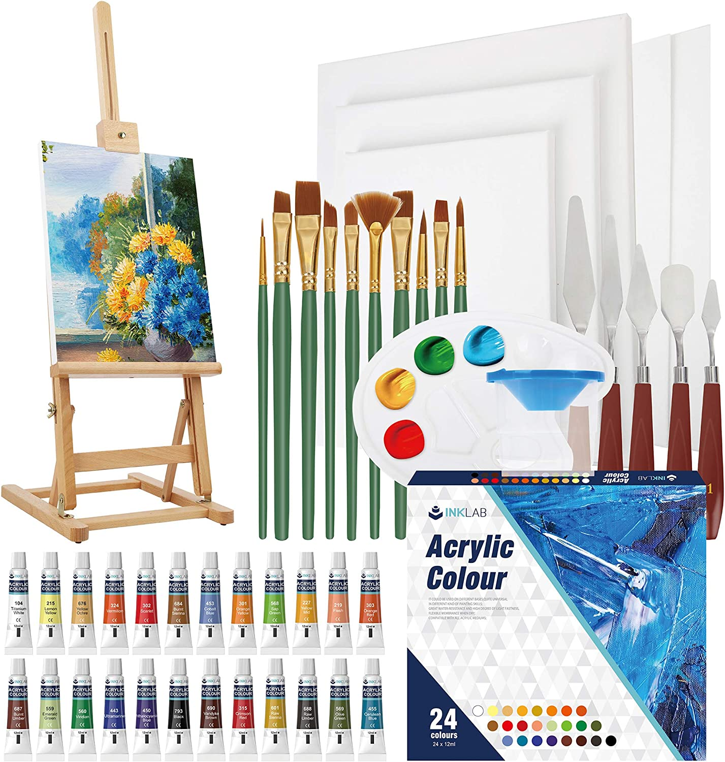 Tavolozza 126 Piece Deluxer Artist Painting Set with Floor Easel Arcylic and ...