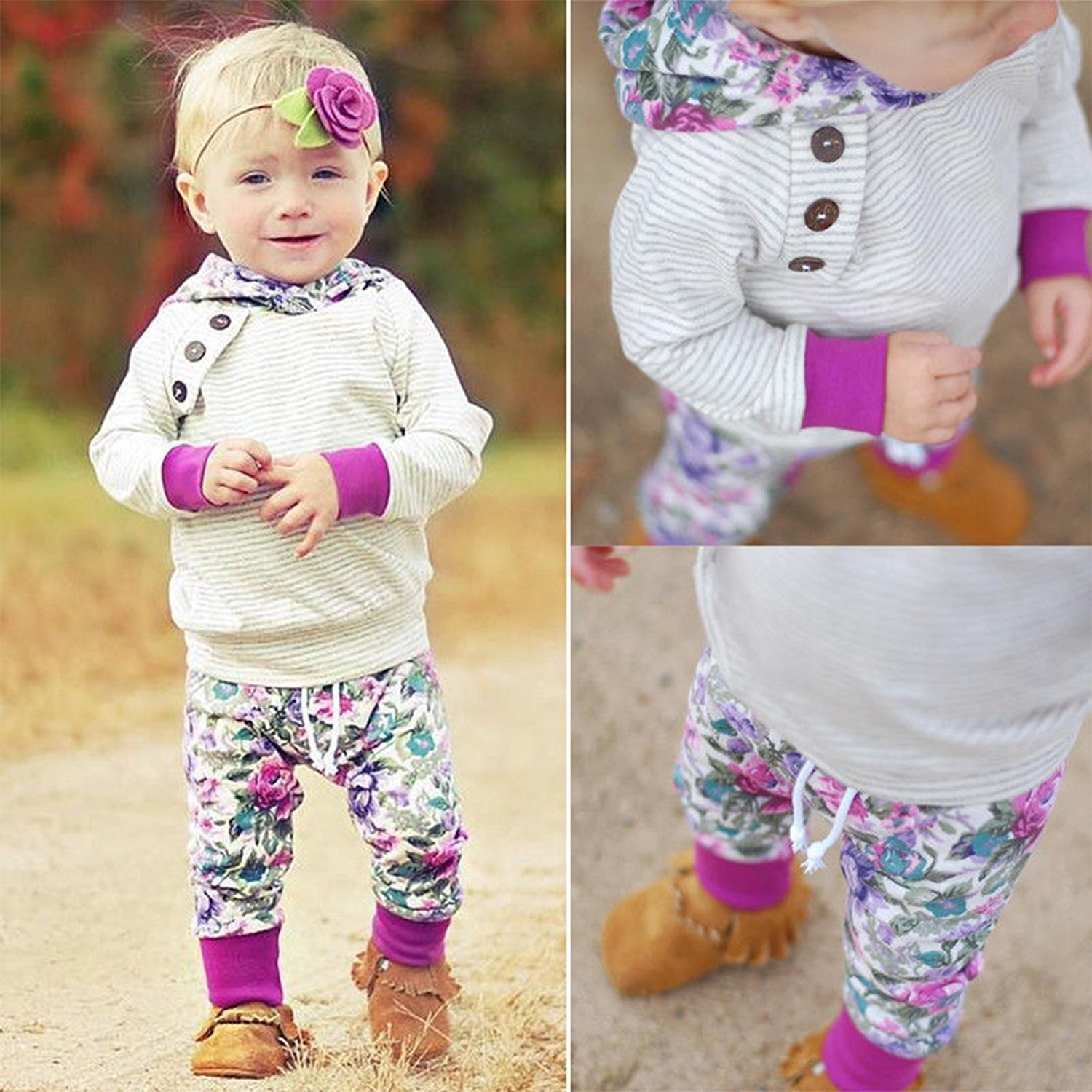 Baby Girls Long Sleeve Flowers Hoodie Tops and Pants Outfit with Kangaroo Pocket Headband (0-6 Months) by Oklady (Image #7)