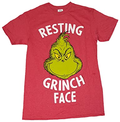 b9461a3f6c10b How The Grinch Stole Christmas Resting Grinch Face Red Graphic T-Shirt -  Small