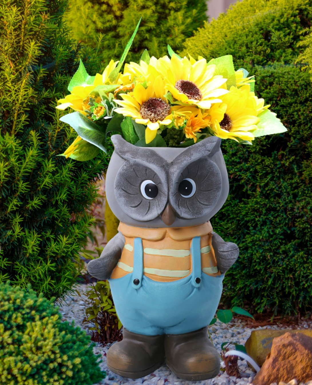 Owl lawn ornaments - Amazon Com Owl Decor Flower Pots Garden Statues 15 Inch Tall Head Planter Indoor Outdoor Decorations 2017 Patio Lawn Garden