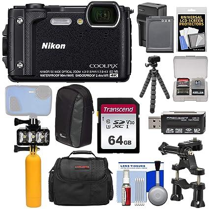 Nikon Coolpix W300 4K Wi-Fi Shock & Waterproof Digital Camera (Black) +  64GB Card + Battery & Charger + Diving LED + Buoy + Bike Mount + Cases +