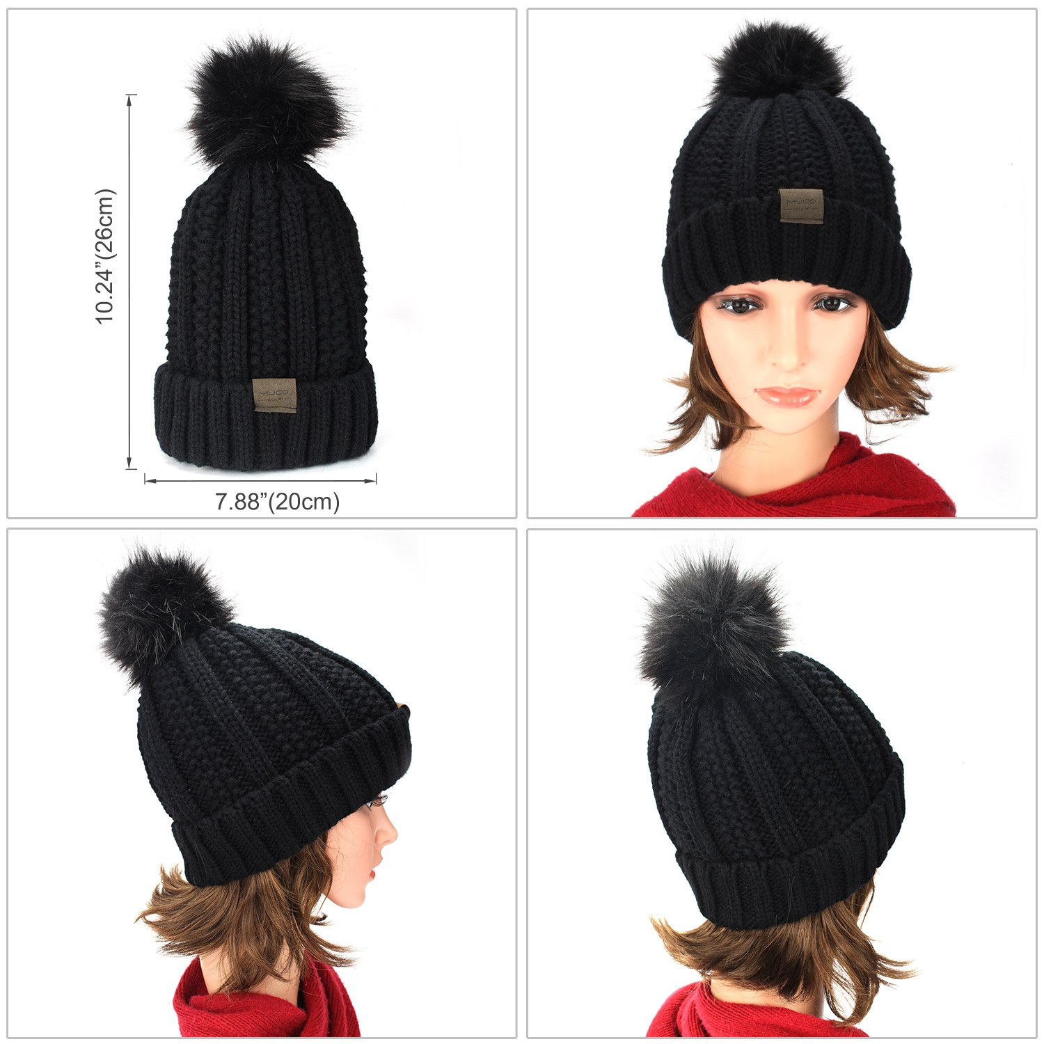 83a16bc81 MUCO Womens Beanie Winter Hat Knit Chunky Faux Fur Warm Linling Pom Poms  Hat Bobble Hat Ski Cap