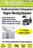 Premium Fotopapier 100 Blatt 13x18 cm 180g/qm Highglossy hochglänzend wasserfest