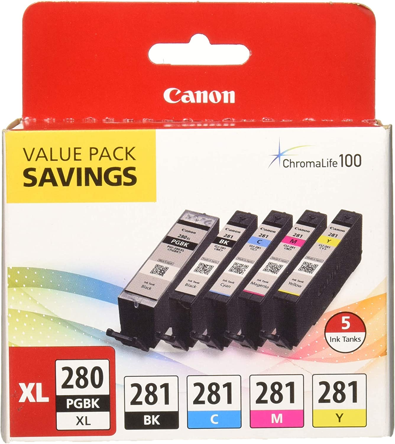 PIXMA TS9120 TS8120 TS6120 TR7520 TR8520 TS9120 JinHan 24 Pack Replacement for Canon PGI-280 CLI-281 PGI-280XXL CLI-281 XXL Compatible Ink Cartridge 5-Color Ink Tank Combo Pack Compatible to