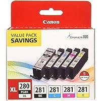 $61 » Canon PGI-280XL/CLI-281 5 Color Pack Compatible to TR8520, TR7520, TS9120…