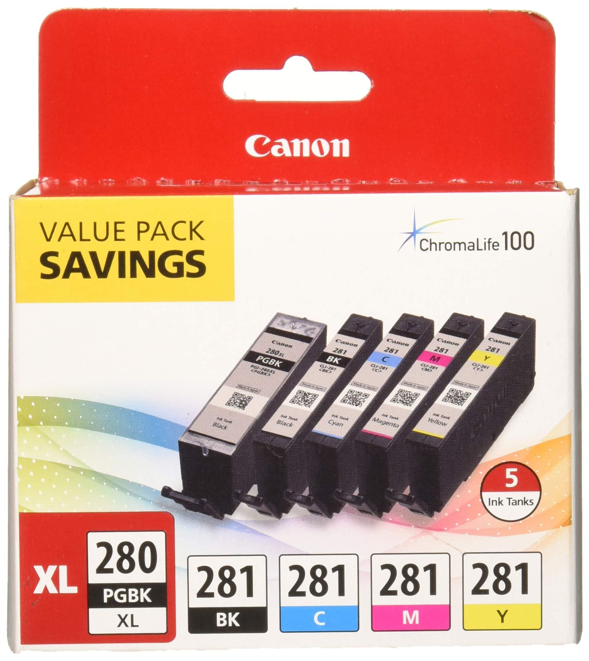 PGI-280XL/CLI-281 5 Color Pack ''Canon PGI-280XL/CLI-281 5 Color Pack  Compatible to TR8520, TR7520, TS9120 Series,TS8120 Series, TS6120 Series''