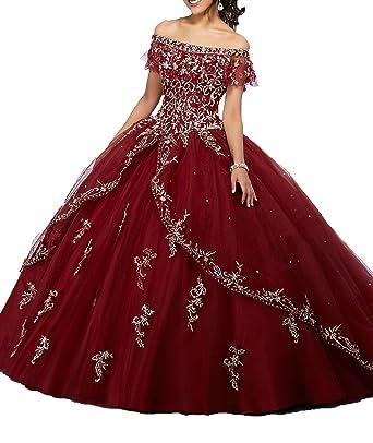 fabb5c06251 Yang Women Bateau Sweet Girls 15 16 Appliques Quinceanera Dresses 0 US  Burgundy