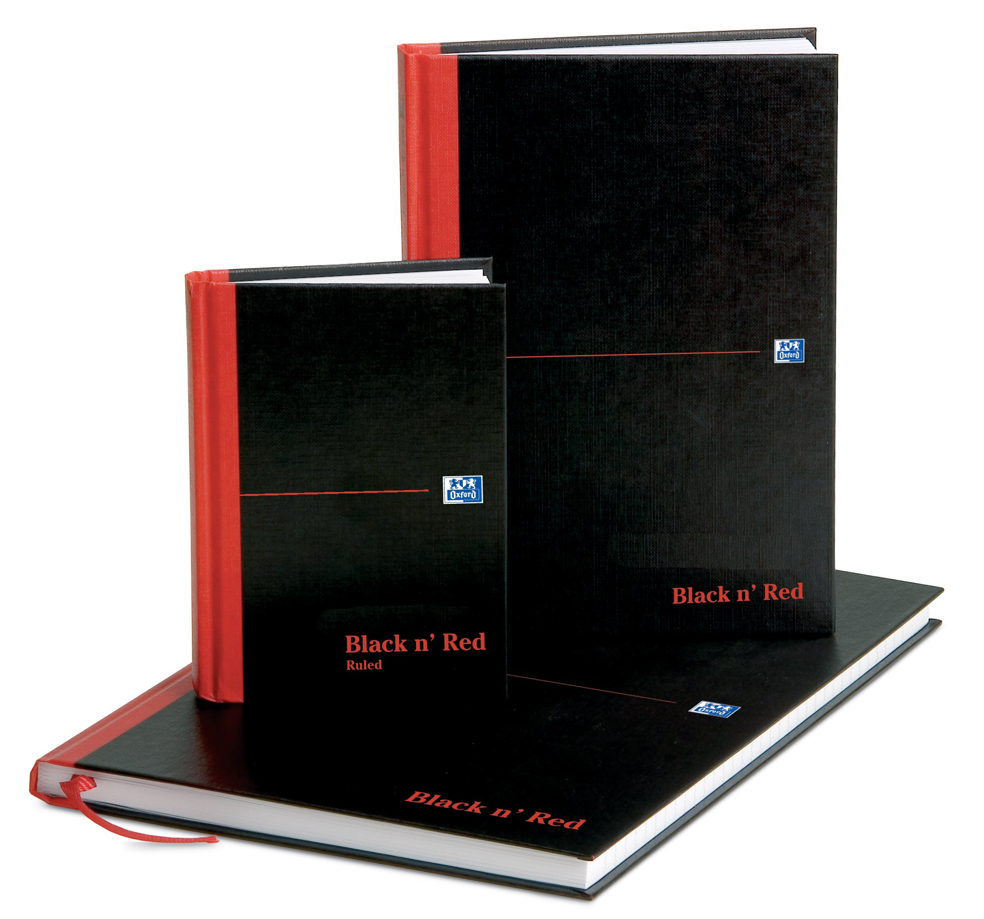 Oxford Black n' Red A4 192 Pages Matte Casebound Hard-Back Ruled Notebook (Pack of 5) Pack of 5 (A5) by Oxford (Image #7)