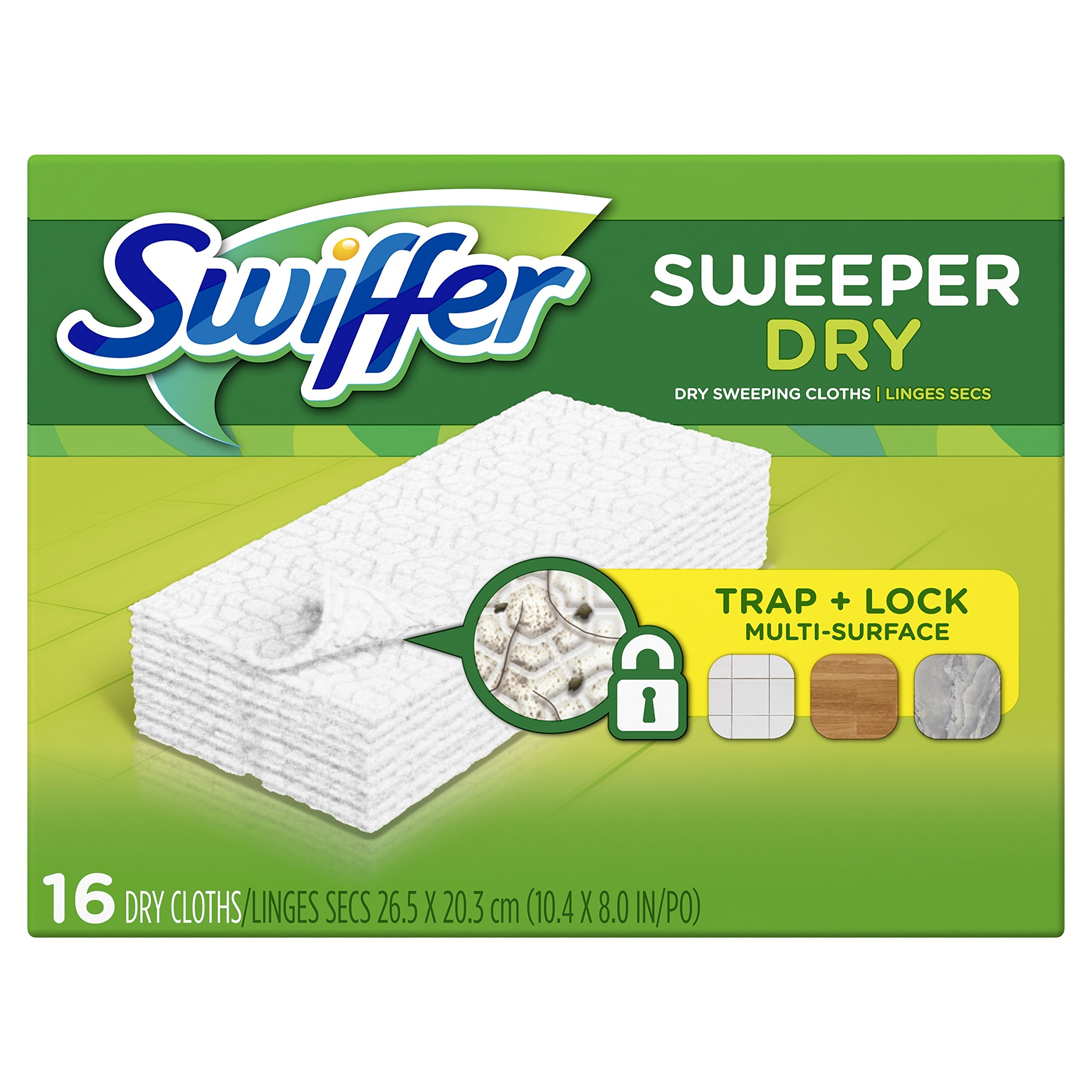 Swiffer Sweeper Dry Sweeping Pad Refills, Hardwood Floor Mop Cleaner Cloth Refill, Unscented, 16 Count (Pack of 12)