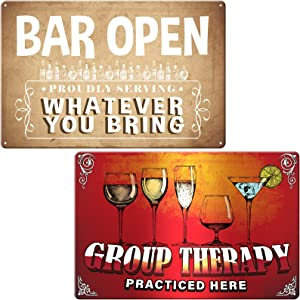 2 Pieces Bar Retro Tin Signs Wine Metal Embossed Art Painting Kitchen Bar Outdoor Pub Coffee Shop Home Man Cave Funny Art Wall Decor, Bar Open and Group Therapy Practiced Here, 8 x 12 Inch