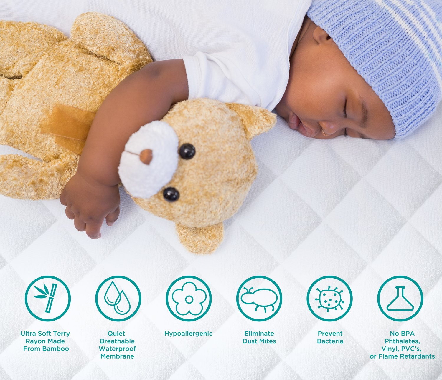 Amazon.com : Baby Crib Mattress Protector Pad - The Softest Bamboo Rayon Fiber Quilted Terry - Waterproof & Hypoallergenic - Protect from Dust Mites & Mold ...