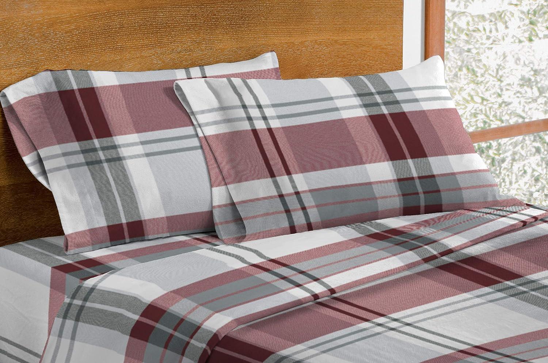 Amazon Com Dormisette Luxury German Flannel Sheets Pillowcases Set 4 Piece Queen Red Grey Plaid Kitchen Dining