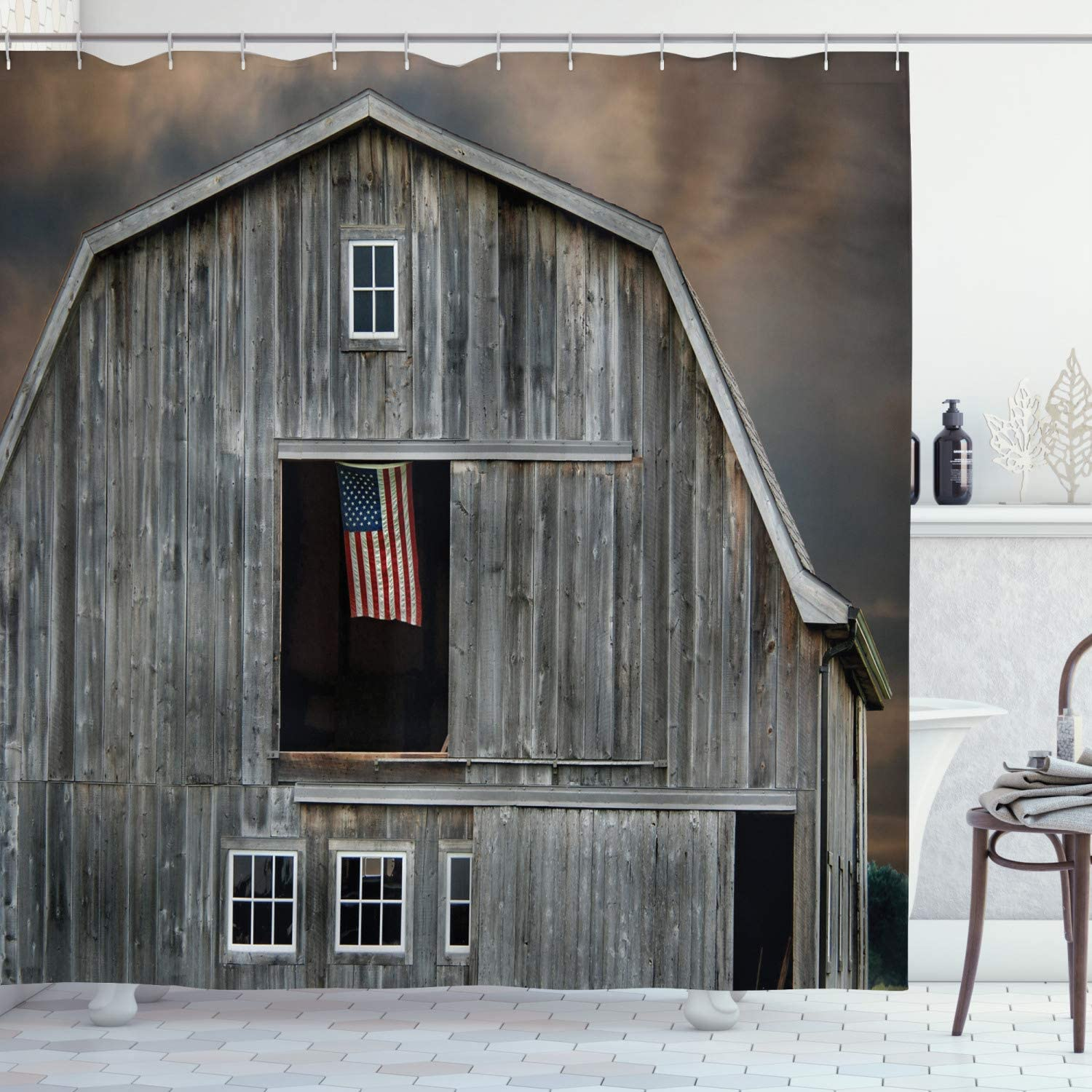Ambesonne American Flag Shower Curtain, American Flag Flying in Hayloft Window Wooden Old House Dark Evening View, Cloth Fabric Bathroom Decor Set with.