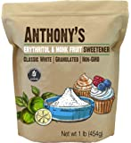 Anthony's Erythritol and Monk Fruit Sweetener Classic White, 1 lb, Granulated, 1 to 1 Sugar Substitute, Non GMO, Keto…