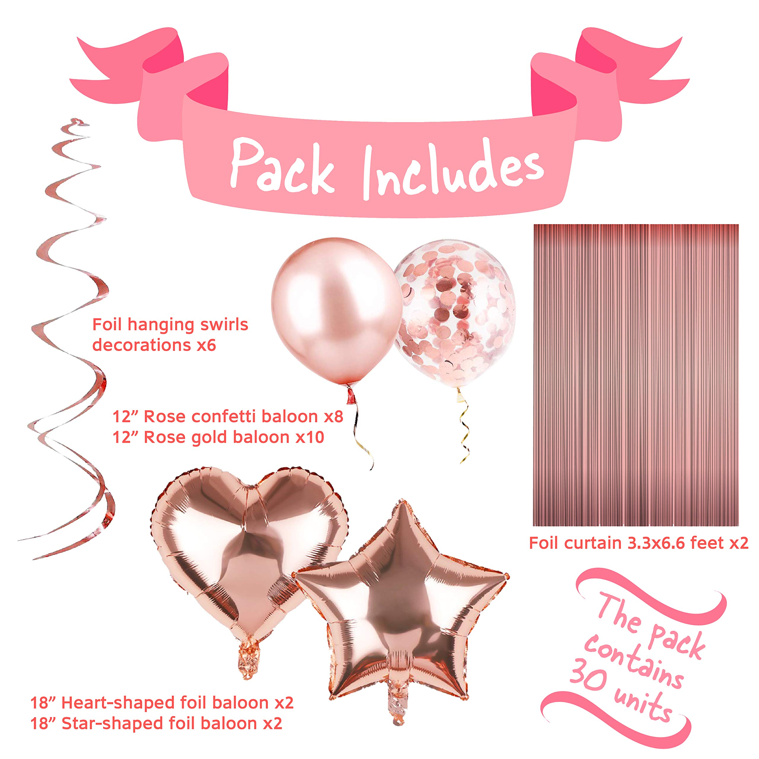 Rose Gold Party Decorations - Rose Gold Birthday Decorations Set: Rose Gold Confetti Balloons, Tinsel Foil Fringe Curtains, Rose Gold Heart and Star Shaped 18\