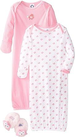 Gerber Baby Girl 2-Piece Aqua Little Birds Lap Shoulder Gowns Size 0-6M