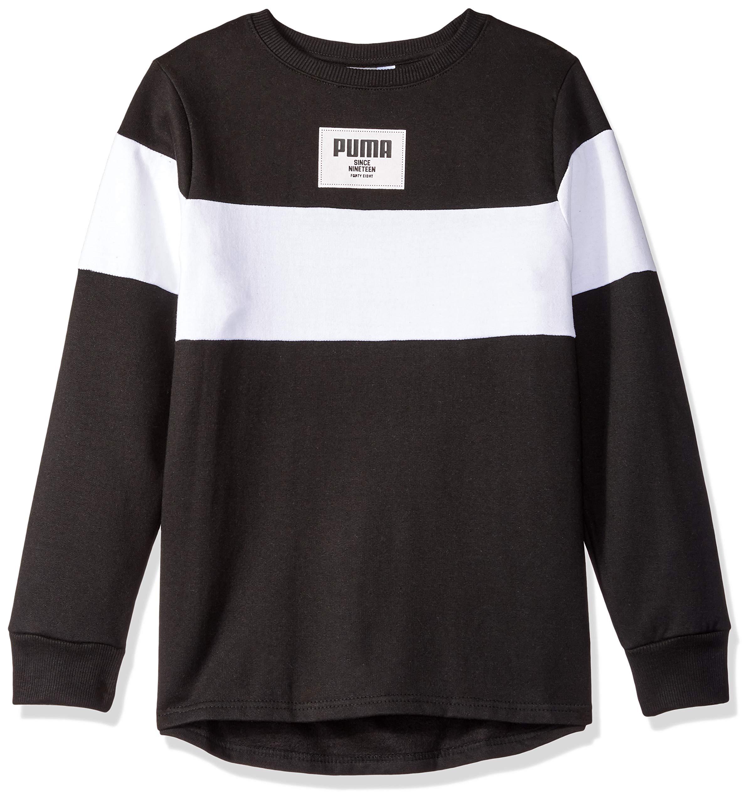PUMA Big Boys' Fleece Sweatshirt, Black, L