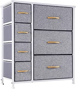 Kamiler 7 Drawers Dresser-Furniture Storage Unit,Bedroom Chest Organization-Closet for Clothes, Wood Top, Easy Pull Fabric Bins, Anti-Tip Kit (White)