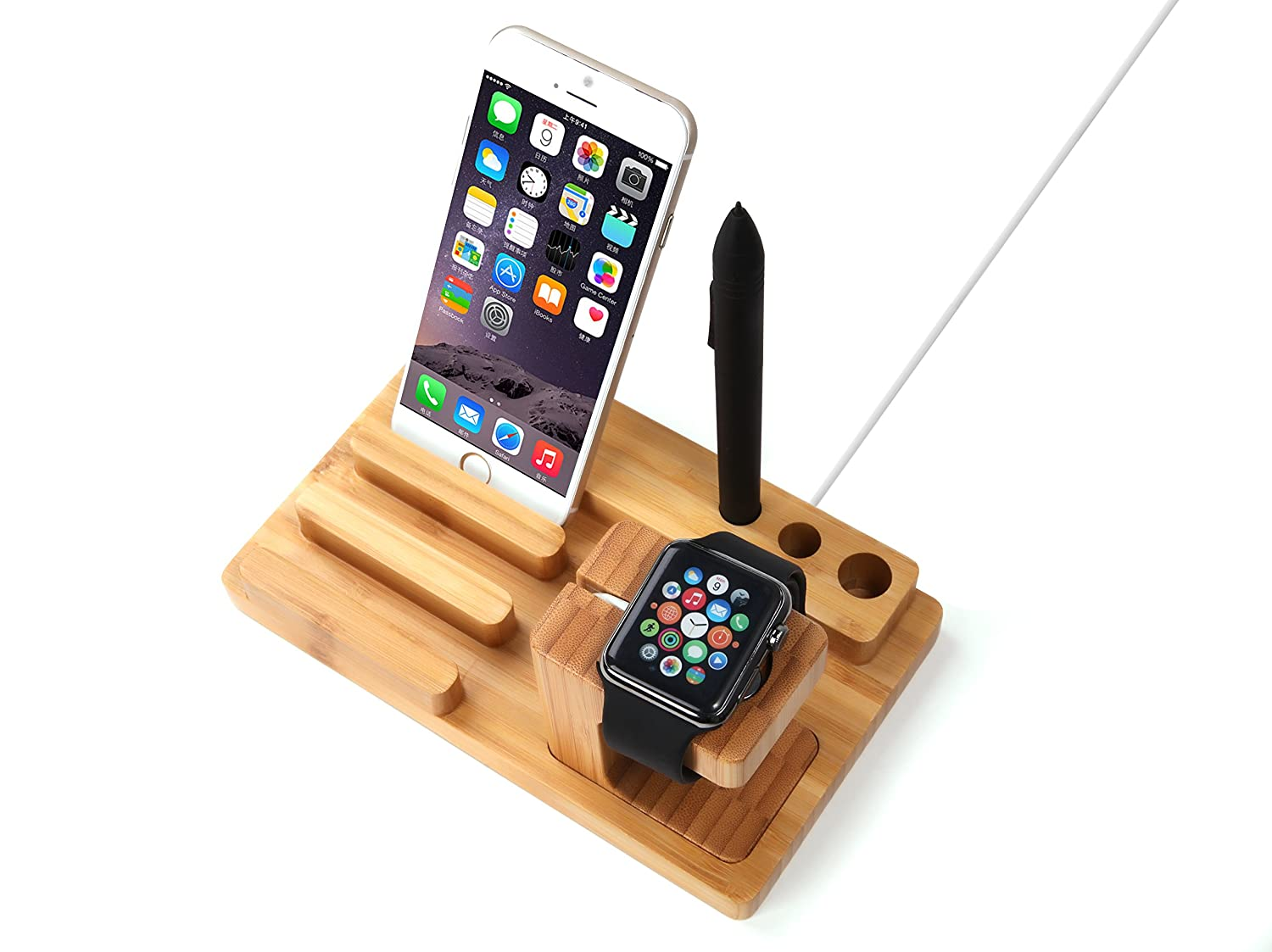 amazon com apple watch stand trond ac4 bamboo dual charging amazon com apple watch stand trond ac4 bamboo dual charging stand cradle with pen holder for all versions of apple watch iphone ipad cell phones
