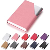Efaithtek Professional Business Card Holder Business Name Card Holder Luxury PU Leather & Stainless Steel Multi Card Case - Keep Your Business Cards Clean(Pink)
