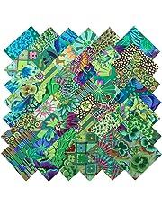 2c2e9ab65448 Kaffe Fassett Philip Jacobs GARDEN GREENS Precut 5-inch Cotton Fabric  Quilting Squares Charm Pack