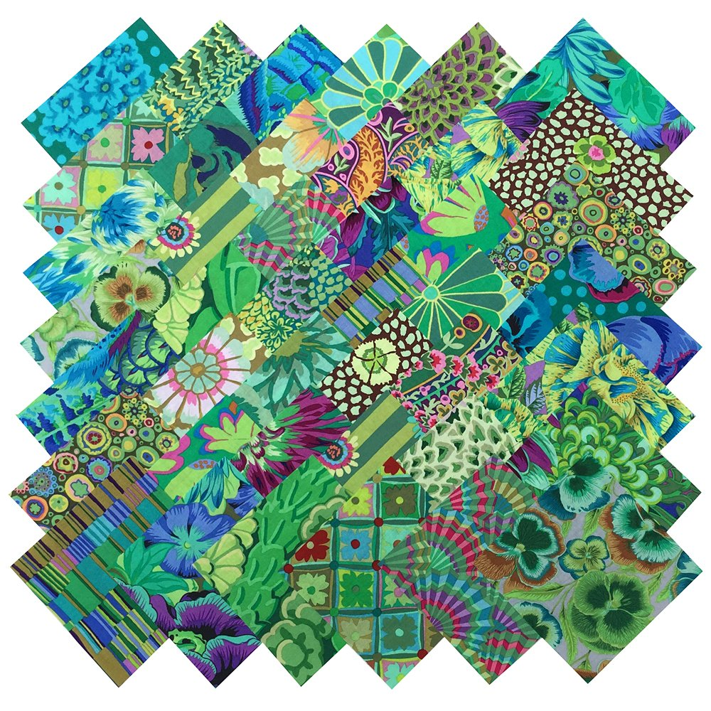 Kaffe Fassett Philip Jacobs GARDEN GREENS Precut 5-inch Cotton Fabric Quilting Squares Charm Pack Assortment Westminster Fibers Floral Flowers Westminster/Rowan Fabrics GARDENGREENS5