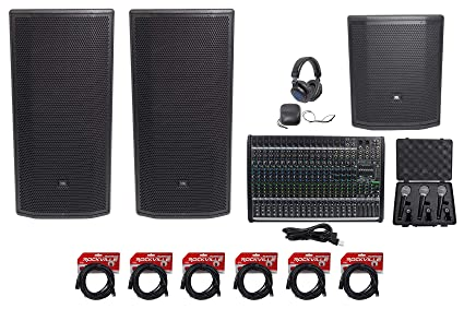 """5b3154e572a Image Unavailable. Image not available for. Color: 2 JBL Pro PRX835XW 15 3-Way  1500w Speakers+15"""" Sub+Mackie"""