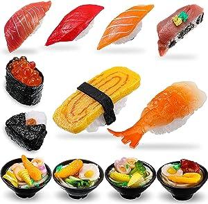 12 Pieces 3D Sushi Refrigerator Magnets Funny Simulation Sushi Fridge Magnets Japanese Ramen Food Shaped Magnets Refrigerator Stickers Decoration