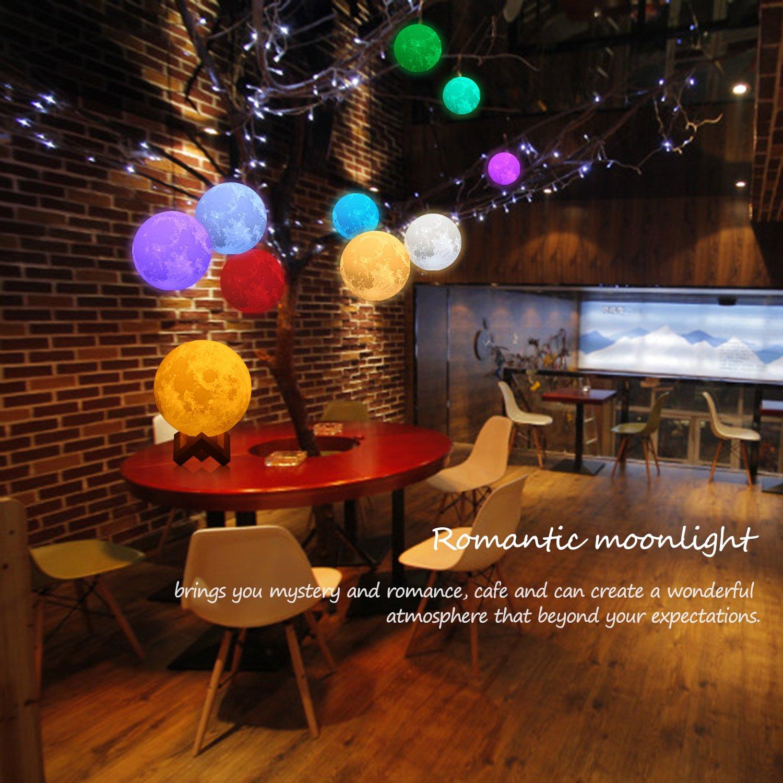 ideale come decorazione o regalo di Natale 10 cm Icoco 3/tonalit/à 7/colori comandi touch per luminosit/à E16 con supporto Lampada a forma di Luna con stampa 3D