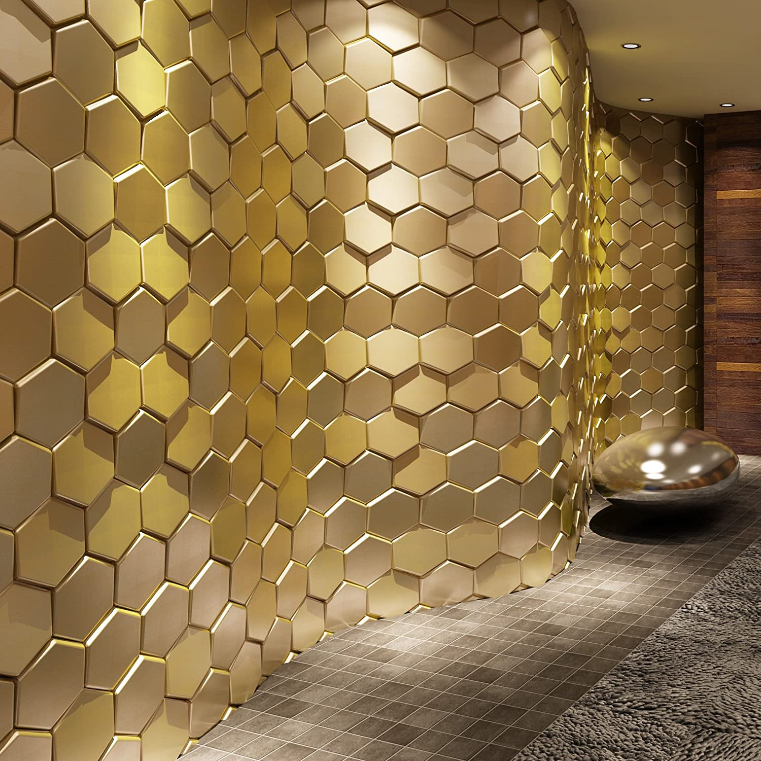 Art3d 20-Pieces Decorative 3D Wall Panel Faux Leather Tile, Golden Hexagon