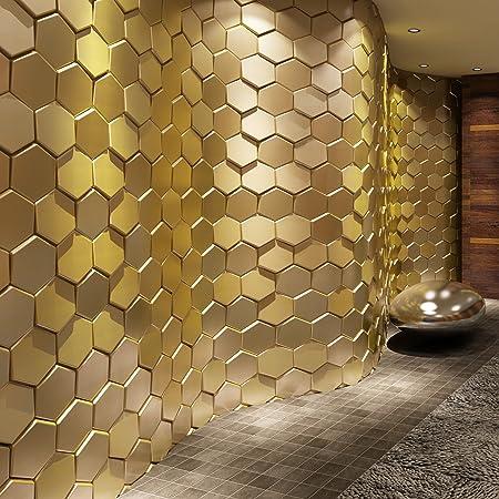 Art3d 20-Pieces Decorative 3D Wall Panel Faux Leather Tile, Golden ...