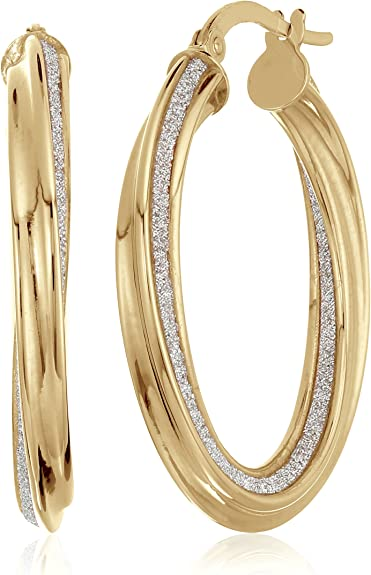 14K Yellow+White Gold Diamond Cut Mesh Like Fashion Sparkle Round Hoop Earring with Hinged Clasp