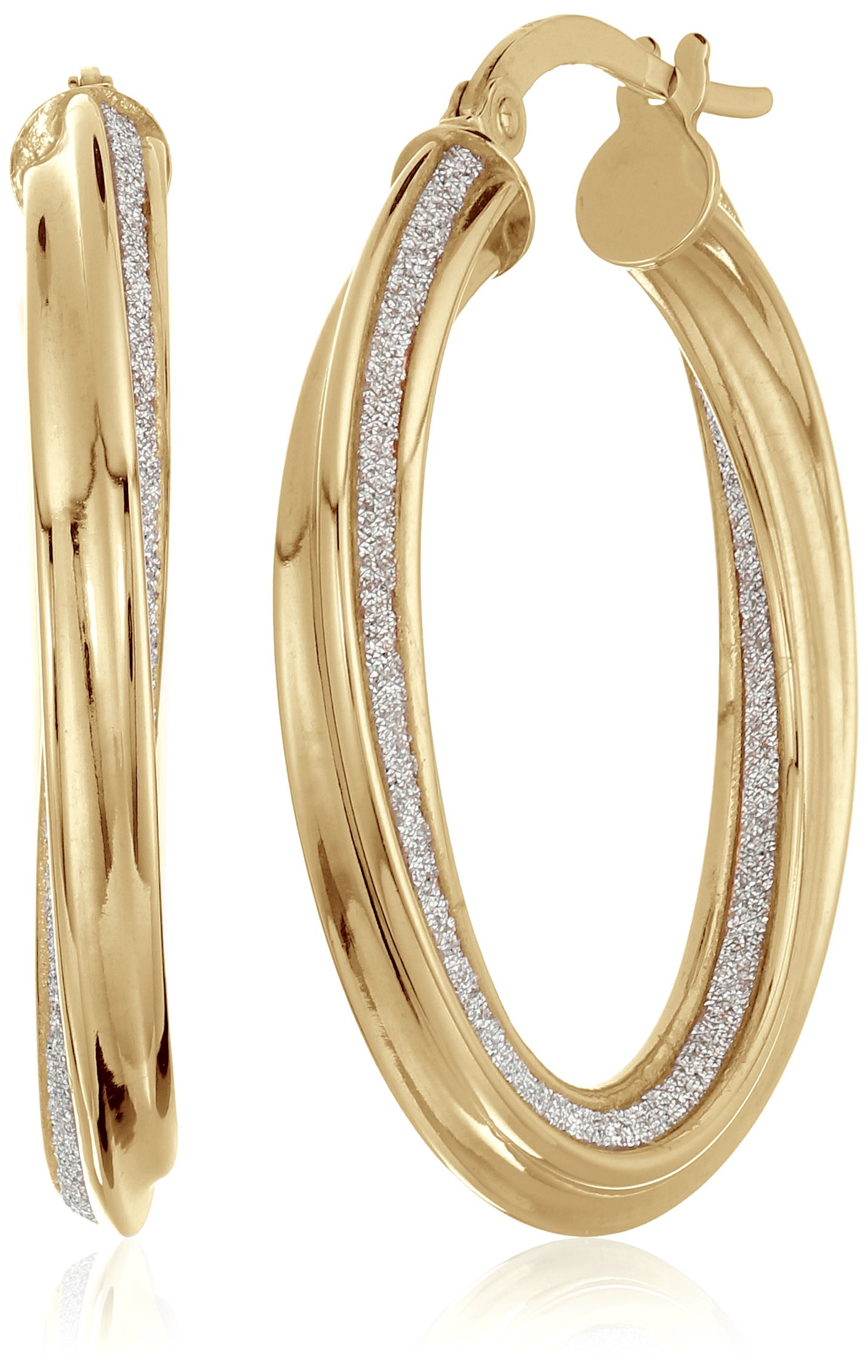 14k Yellow Gold Italian 20 mm Twisted Tube Hoop Earrings with Pave Style Glitter Hoop Earrings