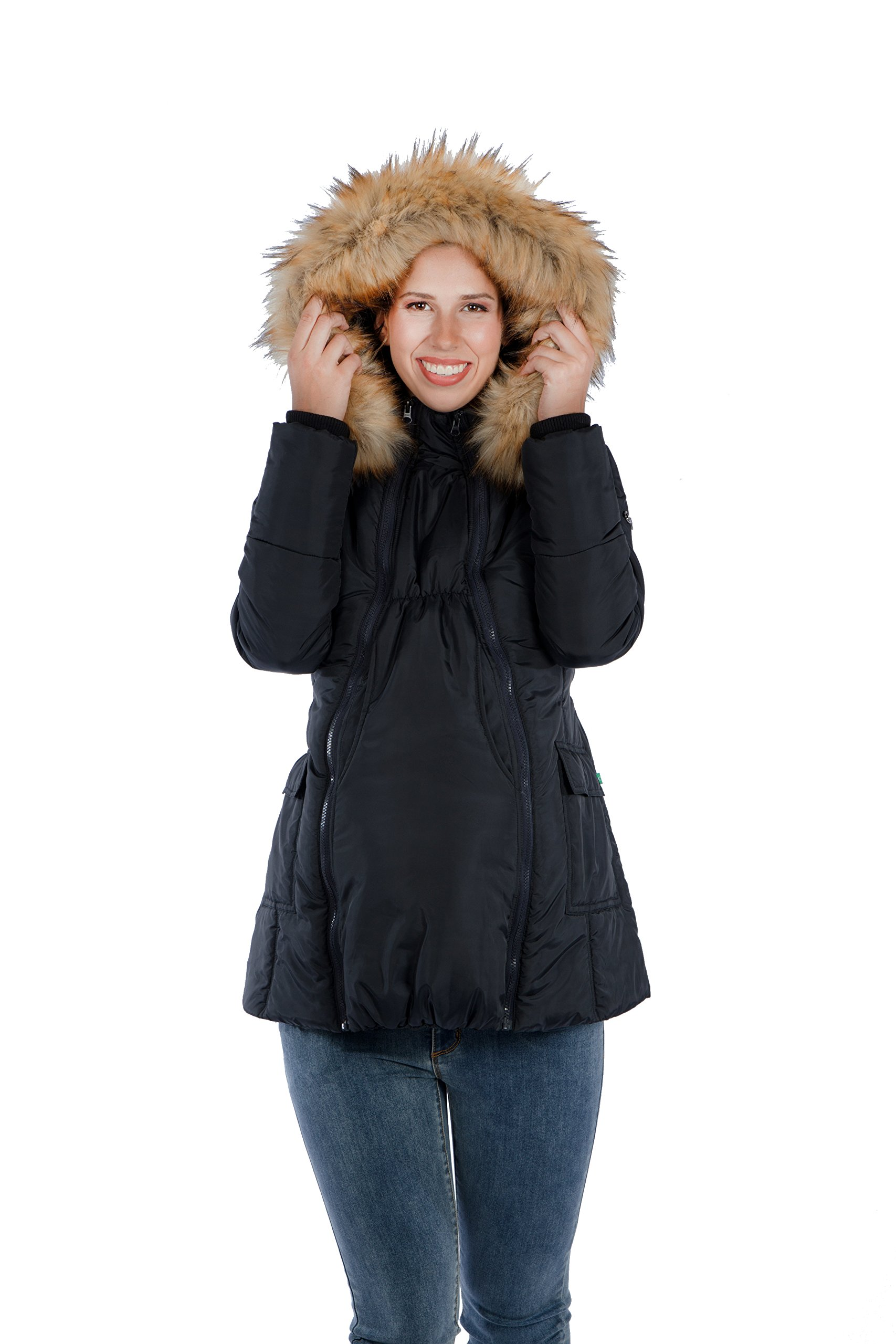 Modern Eternity Womens Quilted Puffer Maternity X-Large Black