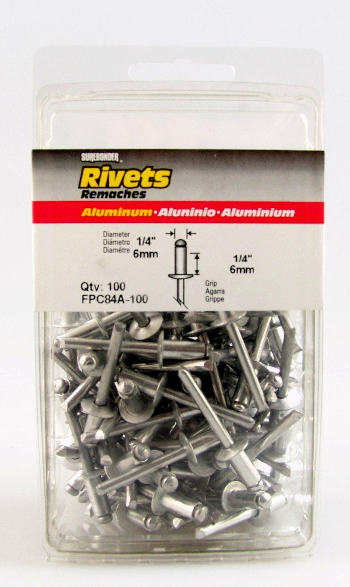 Surebonder FPC84A-100 1/4-inch Aluminum Short Rivets (100 per box)