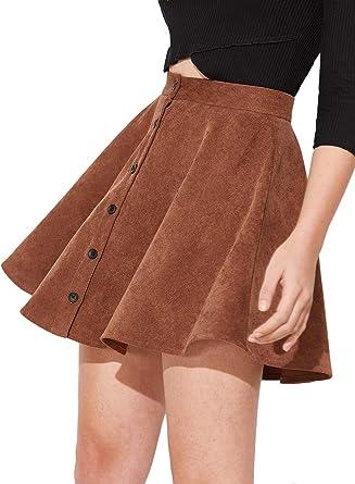 DIDK - Mini falda para mujer con cierre de botón, falda plisada ...