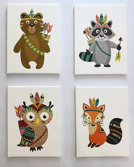 PICSonPAPER Kinder Leinwandbilder 4er-Set Indianer, je 30cm x 40 cm  Dekoration fürs Kinderzimmer, Babyzimmer, Kinderposter, Babyposter, ...