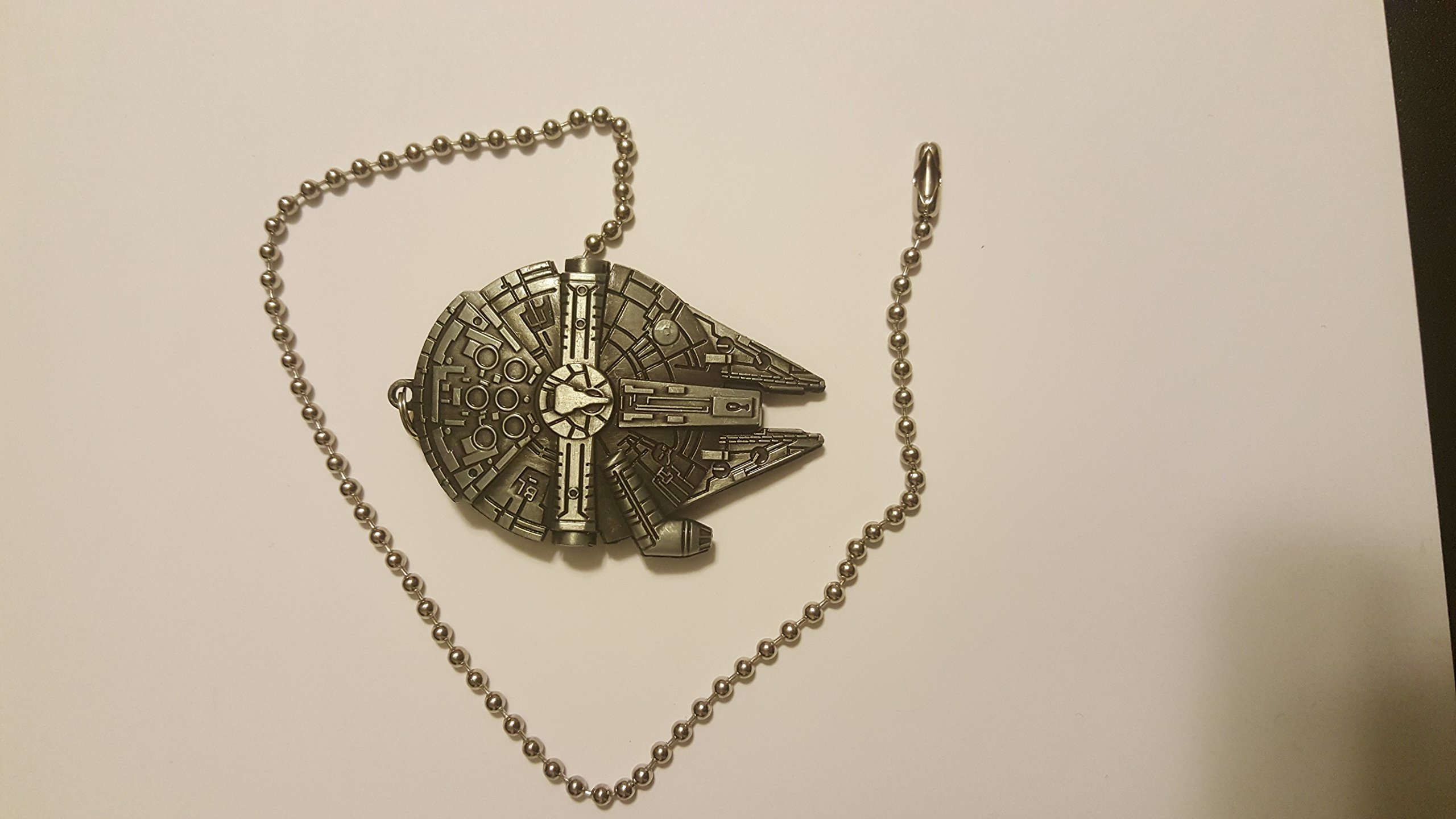 Star Wars Millennium Falcon Ceiling Fan Light Kit Beaded Pull Chain Antique Silver