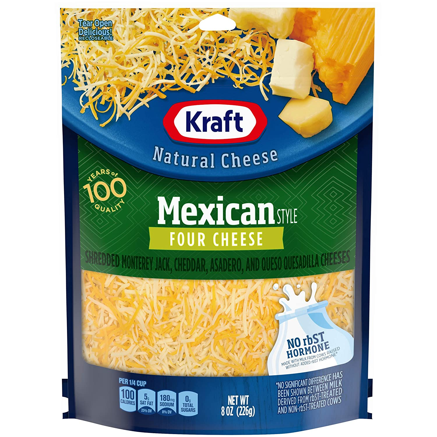 Kraft Finely Shredded Natural Mexican Style Four Shredded Cheese (8 oz Pouch)