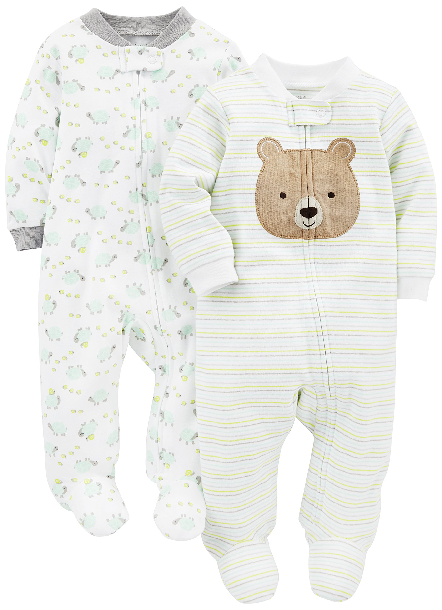 Simple Joys by Carter's Baby Neutral 2-Pack Cotton Footed Sleep and Play, Bear/Turtle, 0-3 Months