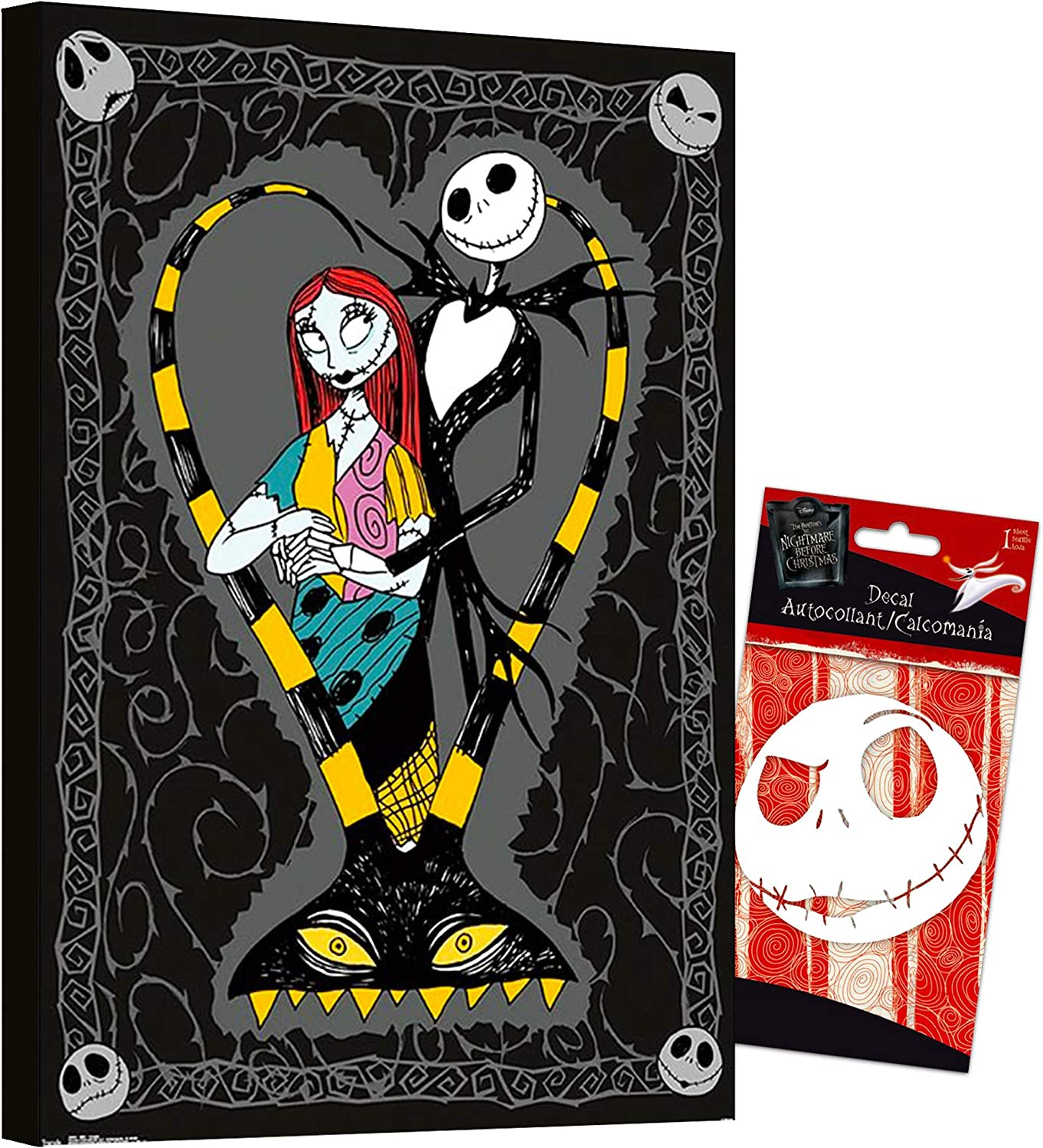 """The Nightmare Before Christmas Poster Wall Art Set -- Nightmare Before Christmas Bundle Nightmare Before Christmas Decal Sticker with Mounted Nightmare Before Christmas Print (8""""x11"""") (The Nightmare Before Christmas Room Decor)"""