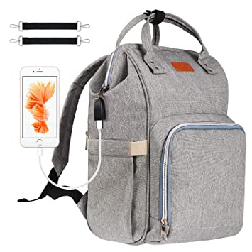 a9a9370e84c1 Diaper Bag Backpack, Covvy USB Charging Diaper Bag for Baby Boys/Girls,  Waterproof Travel Maternity...