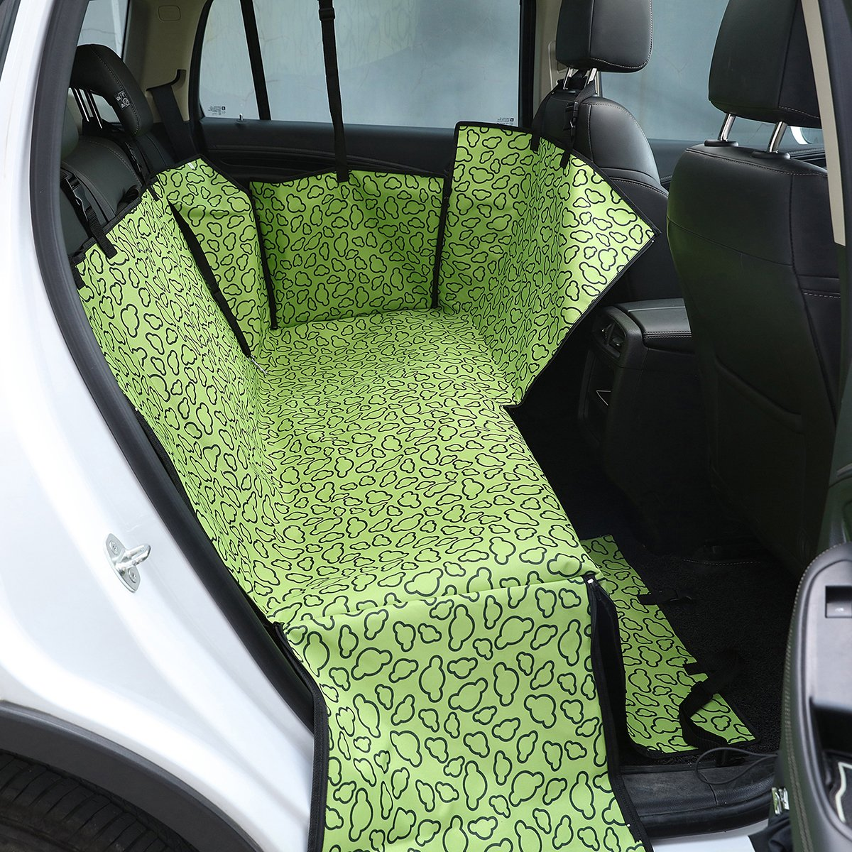 PETCUTE Luxury Dog Car Seat Cover Pets Hammock Cover Cat Waterproof Durable Backseat Double Cover with Side Flaps Green