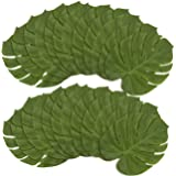24-Pack Tropical Palm Leaf - Artificial Fabric Monstera Leaf, Summer Luau Party Decorations, Tropical Themed Decor, Safari Plant Leaves, Green - 13.7 x 11.5 Inches
