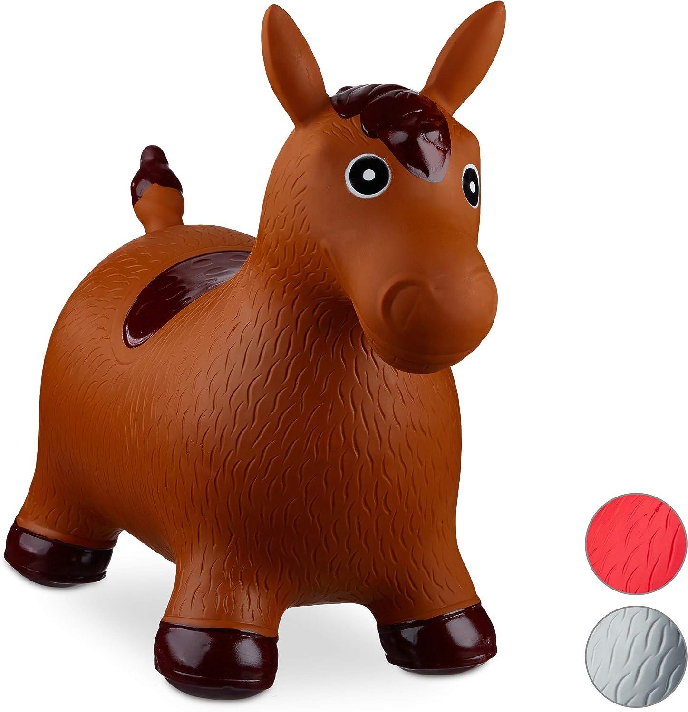 Relaxdays- Saltador Hinchable Caballo para Niños hasta 50 Kg sin BPA, Plástico, Color marrón, 48 x 26 x 58 cm (10024991_93)